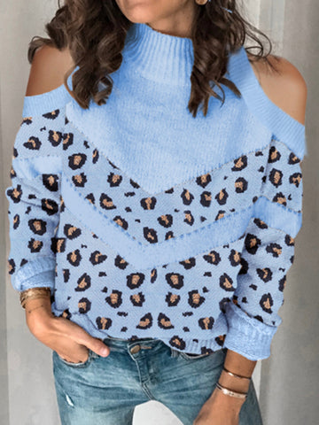 Women's Fashion Printed Off-Shoulder Long Sleeve Sweater