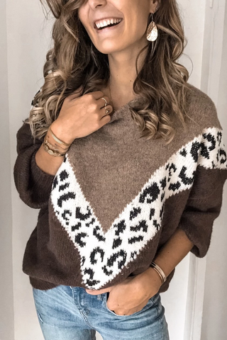 Casual Printed leopard Colour Long Sleeve Splicing Sweater