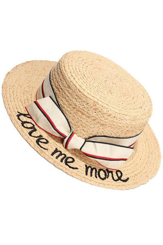 Women's Alphabet Embroidery Flat Top Holiday Shade Straw Hat