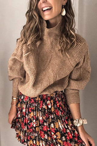Loose High Neck Knit Sweater