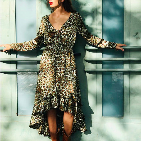Casual V-neck Long Sleeve Leopard Dress