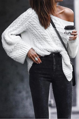 Fashion Off-Shoulder   Pure Colour Long Sleeve Sweater