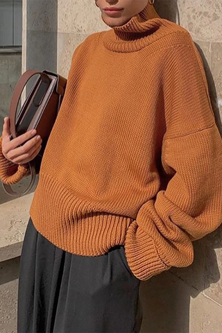 Fashion high collar yellow brown long sleeve knit sweater