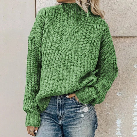 Leisure Pure Color High-Collar Knitted Sweater