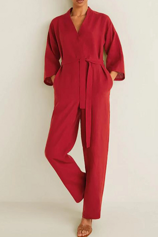 Casual V-Neck Long-Sleeved Mid-Rise Solid Color Jumpsuits