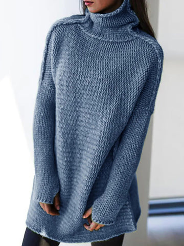Casual pure color high collar knit sweater