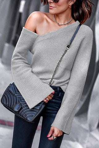 Horn Sleeve Knitted Sweater