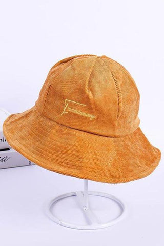Embroidered Letter Corduroy Fisherman Hat