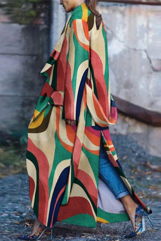 Fashion Split Color Contrast Long Coat