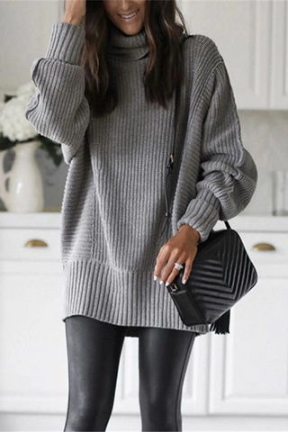Casual Loose Solid Color Turtleneck Sweater