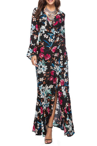 Sexy V-Neck Printed Long Sleeved Maxi Dress