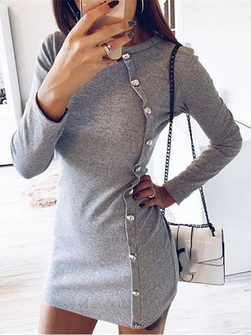 Casual Round Neck Pure Color Dress