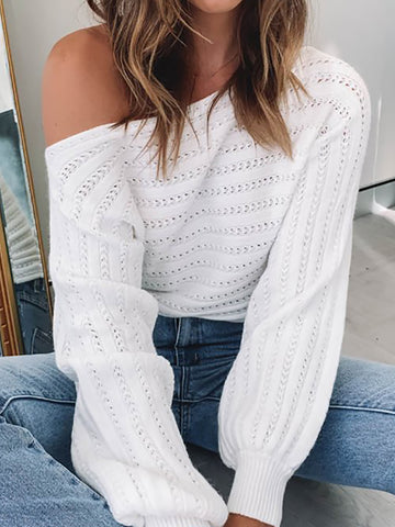 Fashion solid color long-sleeved cut-out sweater