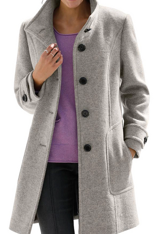 Women's Fashion Pure Color Long-sleeved Coat