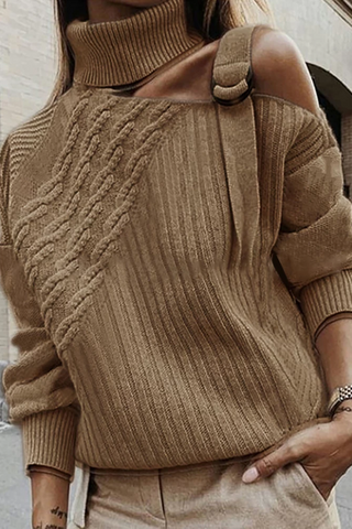 Fashion Pure Color Open Shoulder Knitted Sweater