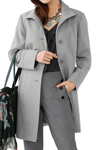 Womens Solid Colour Lapel SIngle Breasted Overcoat