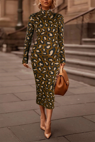 Fashion leopard high neck dress