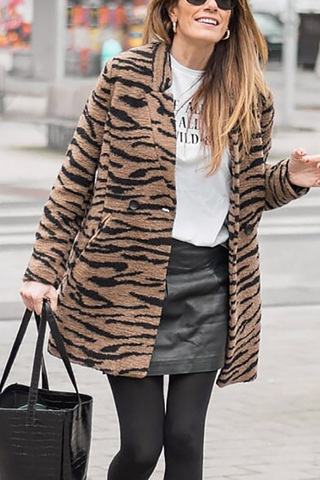 Casual Double-Breasted Leopard Print Coat