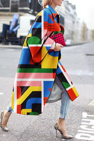 Stylish Geometric Print Coat