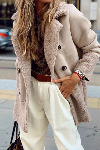 Fashion Turndown Collar Long Sleeve Double-breasted Splicing Plush Coat