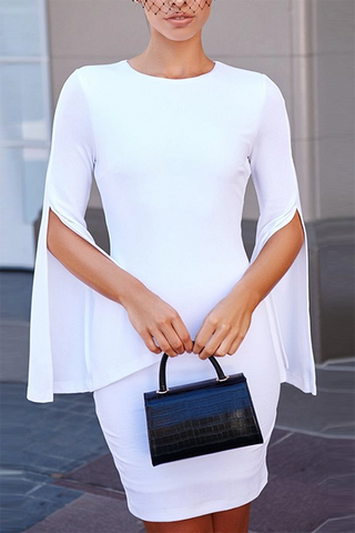 Fashion round neck white split sleeves slim dress