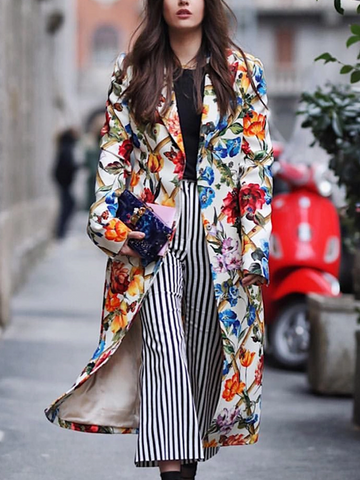 Fashion lapel flower print stitching long ladies coat