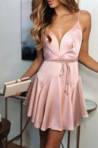 Sexy V Neck Pure Colour Bare Back Short Dresses