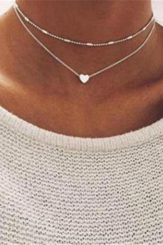 TOKEEPER Simple hearts copper multilayer clavicle   necklace