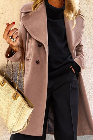 Casual Pure Color Lapel Overcoat