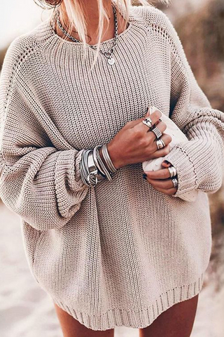 Fashion Simple Loose Bat Sleeve Knit Sweater