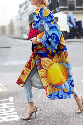 Fashion Sunflower Printed Coat