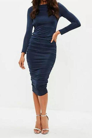 Round Collar Backless Pure Color Long Sleeve Bodycon Dress