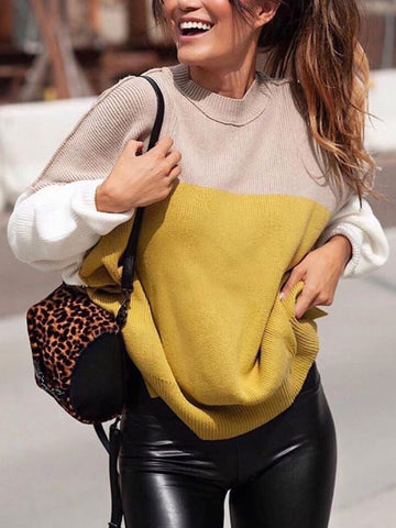 Fashion ladies round neck colorblock sweater
