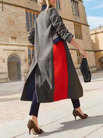 Women's casual loose color-block split coat