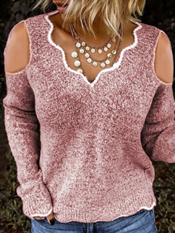 Fashion long sleeves hollow out knitted sweaters