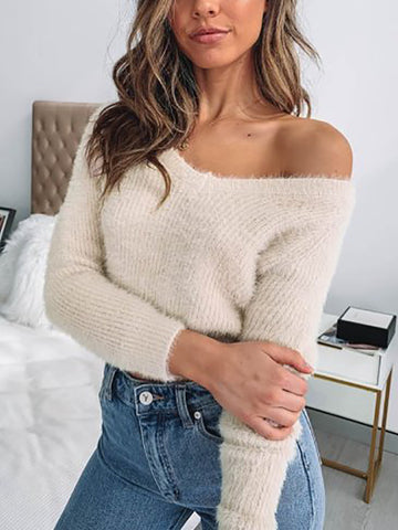Women's Solid V-neck Plush Knit
