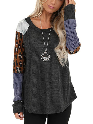 Womens Casual Round Neck Printed Splicing Sweater