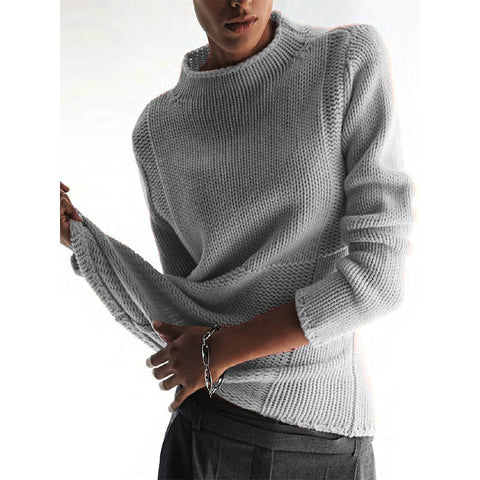 Men's Casual Solid Color Short High Collar Long Sleeve Sweater
