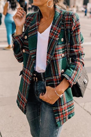 Double-Breasted Grid Lapel Suit