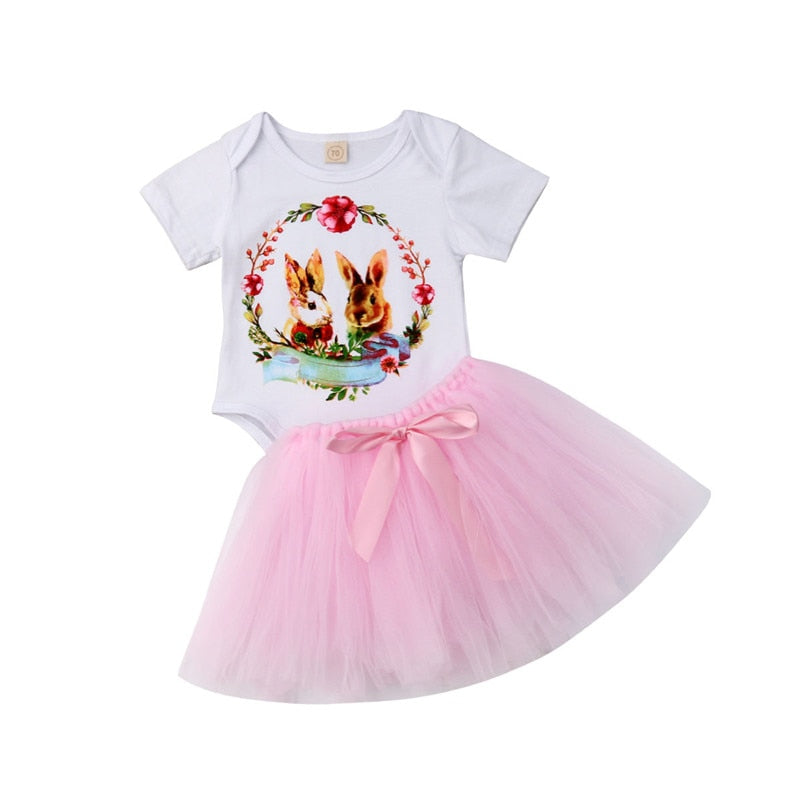 0b745bd9fe97 0-18M Newborn Infant Baby Girls Easter Bunny Tops Romper Tutu Skirt Outfit  Clothes Set ...