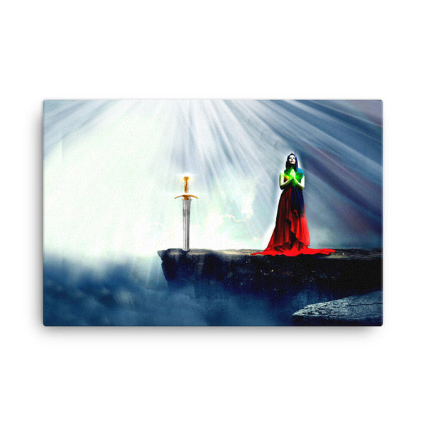 Girls with Swords Standing in the Light - Canvas print