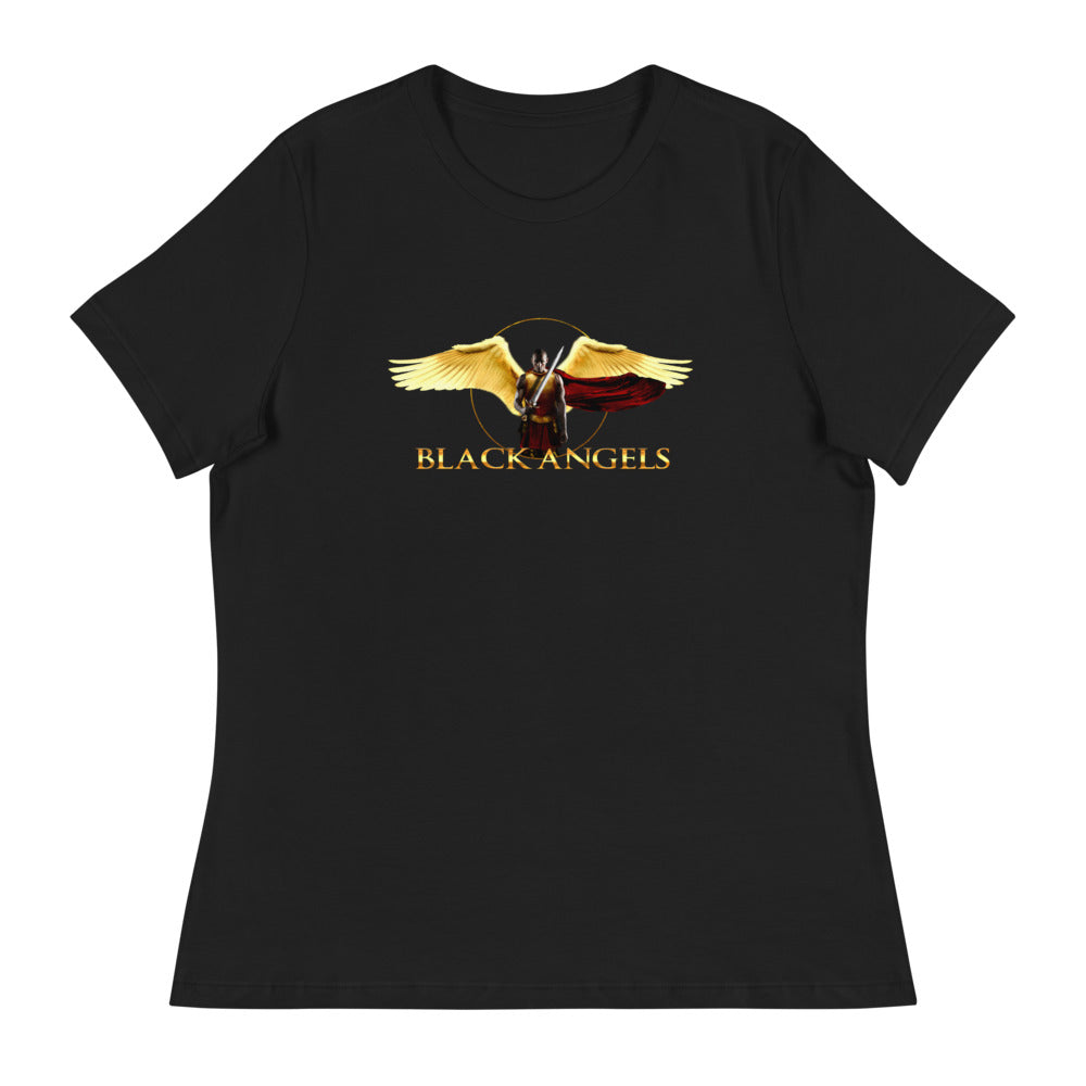 Black Angels - Women's Relaxed T-Shirt w/ gold text