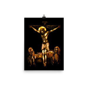 Christ on the Cross between Mary and John (Michael's interpretation of the well-known painting) Photo paper poster
