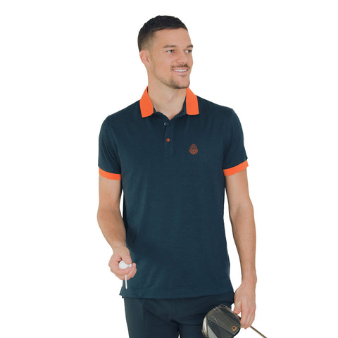 Golf Shirt Navy - Orange Logo