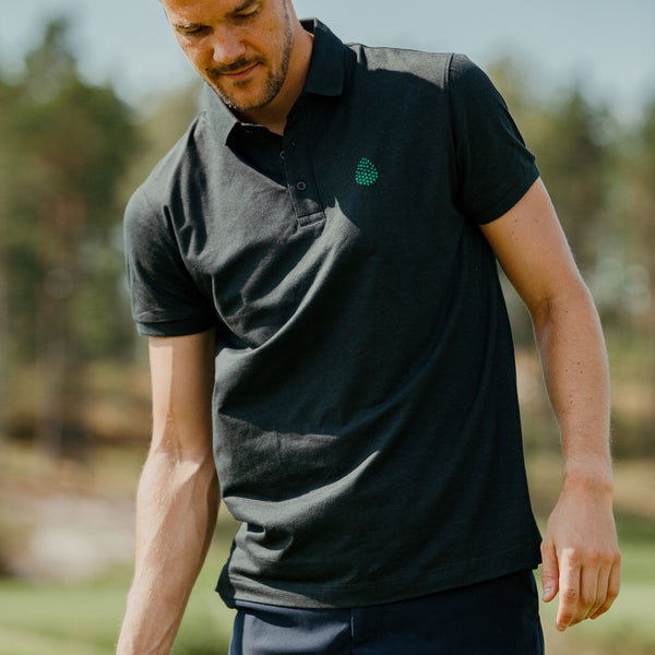Golf Shirt Vintage Black - Green Logo