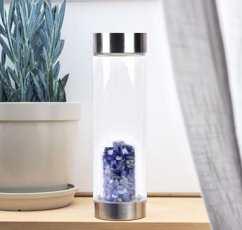 Image of crystal-infused water bottle lapis