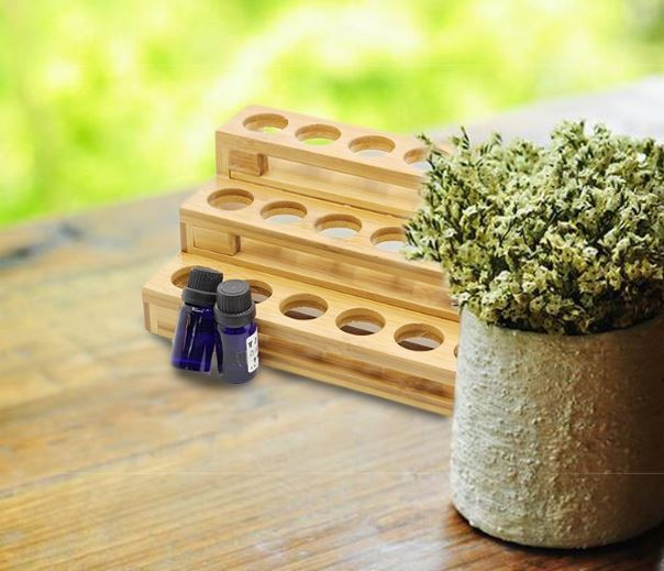 18 Hole Essential Oil Display & Organizer - Real Bamboo!