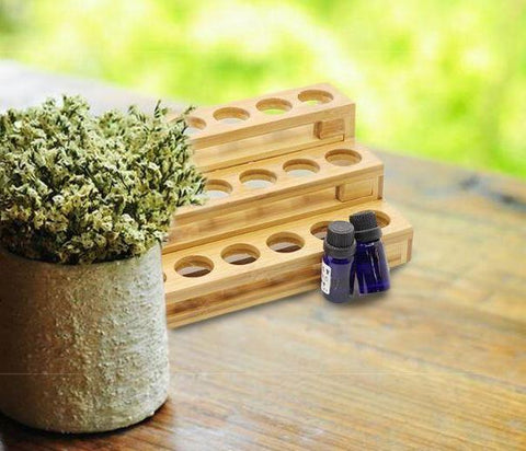 Image of 18 Hole Essential Oil Display & Organizer - Real Bamboo!