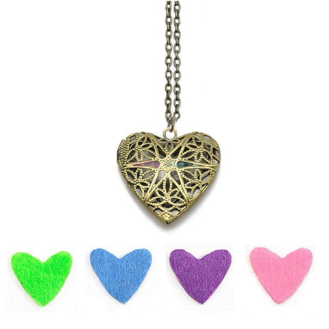Brass Heart Flower Pattern Diffuser Necklace