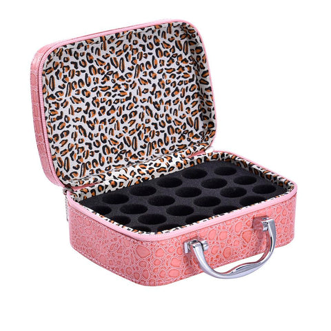 Image of essential oil carry case pink leather
